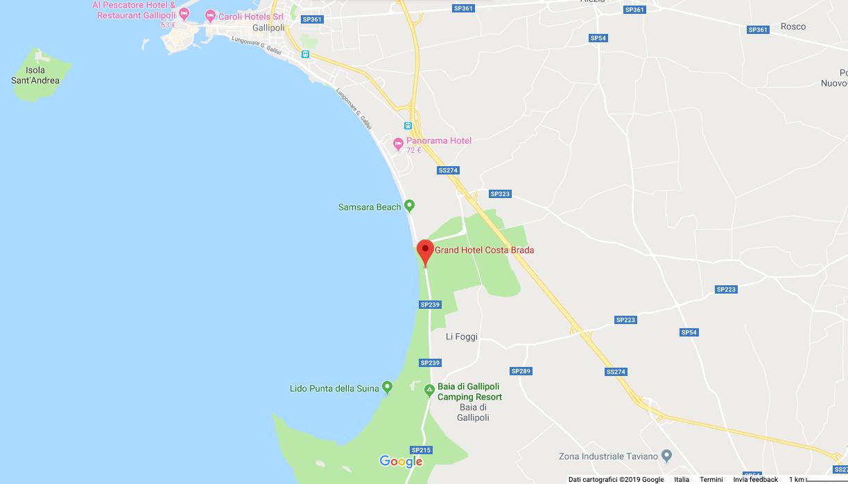 Cartina Puglia Localita Turistiche.Dove Siamo Grand Hotel Costa Brada